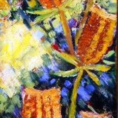 Banksia Heads Contemporary Acrylic Collaged