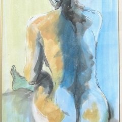 Seated Nude pen&wash Acrylic 26in x 19in