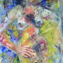 Nude in Blue & Yellow Acrylic painting on watercolour paper 24x18in
