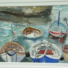 yvonne west Camogli Fishing Boats watercolour 10x7in matted and framed