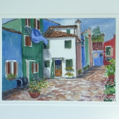 yvonne west burano island Watercolour Painting 14in x 10in Framed
