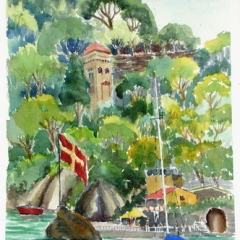 yvonne west portofino Watercolour 14 in x 10in Image size Matted and Framed