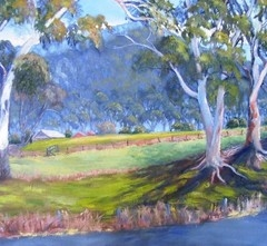 yvonne west Megalong Valley oil on wide sided canvas 36x29 in