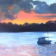 yvonne west evening mooring acrylicon watercolour paper 630gsm 22x14 in UF
