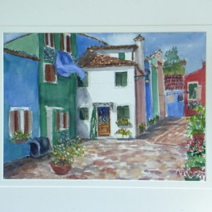 yvonne-west-burano-island-Watercolour-Painting-14in-x-10in-Framed