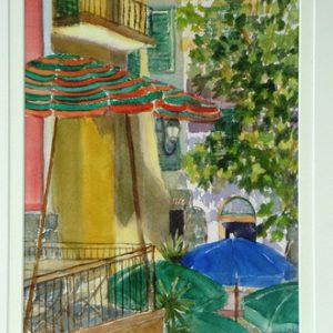 yvonne-west-corniglia-lunch-umbrellas-Watercolour-14-in-x10in