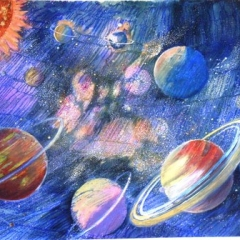 yvonne-west-the heavens watercolour and mixed media 22x15 in unframed