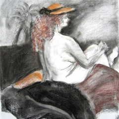Nude-Charcoal-Pastel UF $200 19x13in
