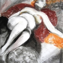 Reclining Nude-Charcoal-Pastel 21x15in $200 UF