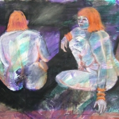 Mixed media on paper uf 22x30 double nude
