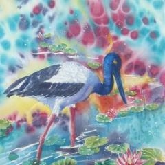 """yvonne west Jabiru in Kakadu watercolour 26x19"""" sold."""