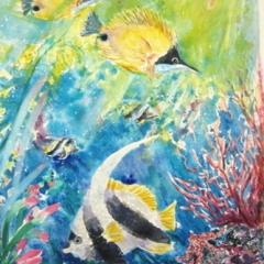 "yvonne west angelfish watercolour 21x14"" uf"
