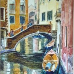 yvonne west Venetian Canal 2 watercolour on yupo paper 23x17in framed