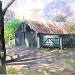 Cecil Lodge Barn Watercolour