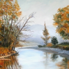 yvonne west Foggy Morn Tumut oil on canvas board 20x24in UF