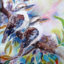 two kookaburras watercolour yvonne west