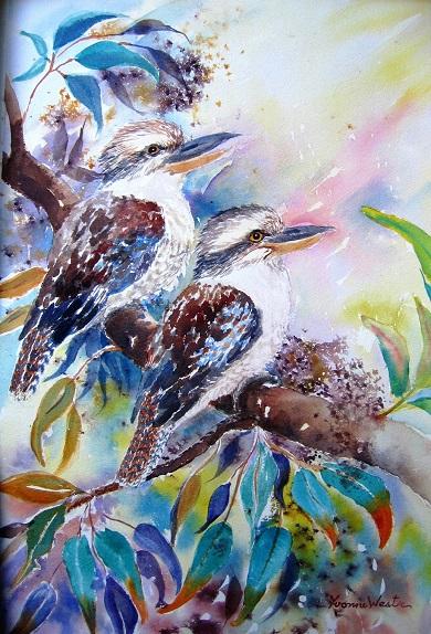 two kookaburras watercolour yvonne west