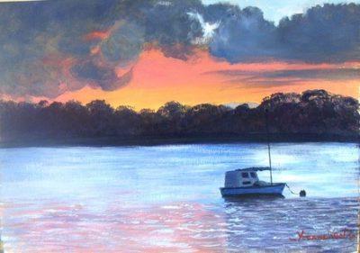 yvonne west evening mooring acrylic australian artist